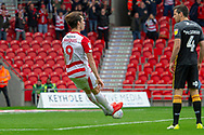 Goal Doncaster Rovers forward John Marquis celebrates his second goal of the match 2-0 during the EFL Sky Bet League 1 match between Doncaster Rovers and Bradford City at the Keepmoat Stadium, Doncaster, England on 22 September 2018.
