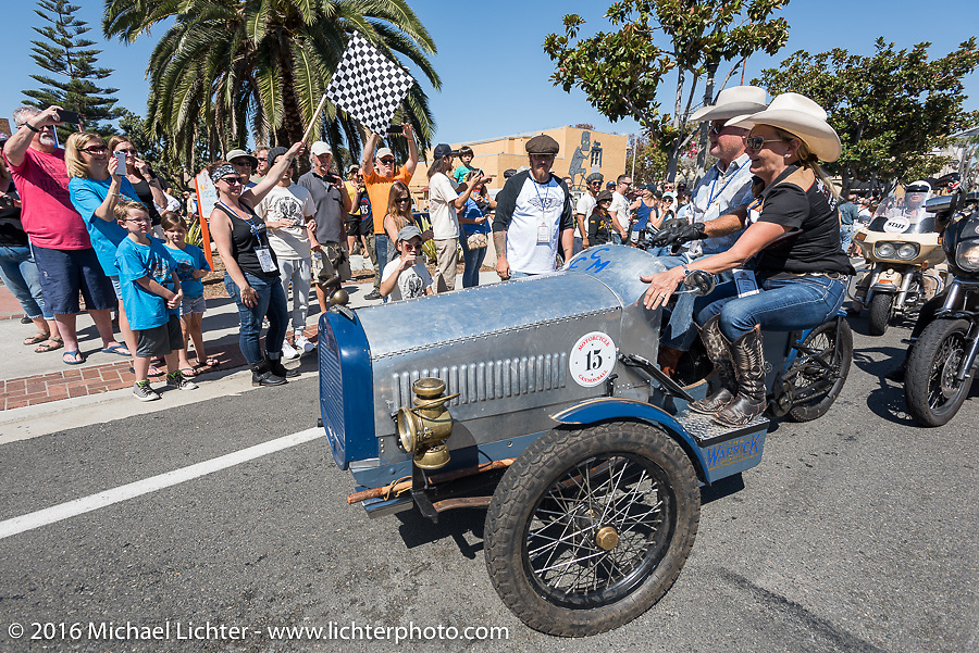 3,400 miles from the Atlantic to the Pacific - The journey is over. Mike Carson on his 1914 Warrick 3-wheeler crosses the finish line of the Motorcycle Cannonball Race of the Century. Stage-15 ride from Palm Desert, CA to Carlsbad, CA. USA. Sunday September 25, 2016. Photography ©2016 Michael Lichter.