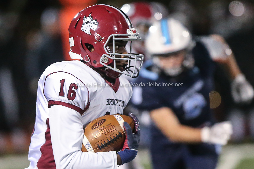 (11/8/19, FRANKLIN, MA) Brockton's Isaiah Laguerre runs the ball during the Div. 1 South football semifinal against Franklin at Franklin High School on Friday. [Daily News and Wicked Local Photo/Dan Holmes]
