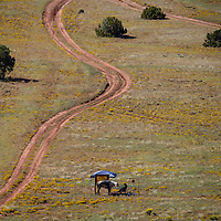One rider waits a check-in station during a fundraising ride for the Zuni Mountain Chapter of the Backcountry Horsemen of New Mexico Saturday near Continental Divide.