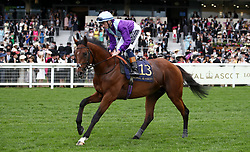 Merlin Magic ridden by Jockey David Egan goes to post for the Jersey Stakes