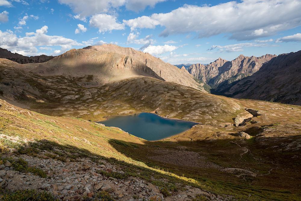 Columbine Lake, an alpine lake in the Weminuche Wilderness, Colorado.