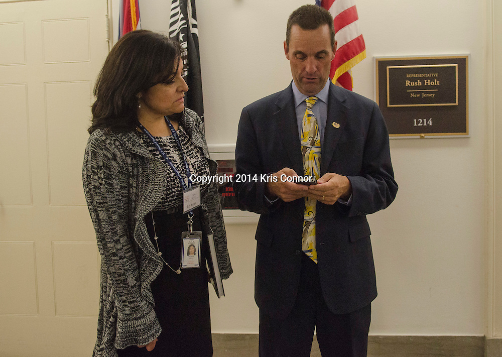 Representative-elect Steve Knight(CA-25) checks out possible offices with wife Lily in the Longworth House Office Building on November 19, 2014. Knight drew first choice in the House of Representatives' new members office lottery earlier in the day. Photo by Kris Connor