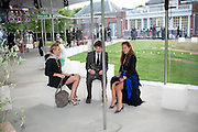 NOEMIE SAGLIO; CHRIS TAYLOR; JADE JAGGER, 2009 Serpentine Gallery Summer party. Sponsored by Canvas TV. Serpentine Gallery Pavilion designed by Kazuyo Sejima and Ryue Nishizawa of SANAA. Kensington Gdns. London. 9 July 2009.