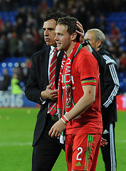 Wales manager Chris Coleman and Chris Gunter of Wales - Mandatory byline: Dougie Allward/JMP - 07966 386802 - 13/10/2015 - FOOTBALL - Cardiff City Stadium - Cardiff, Wales - Wales v Andorra - European Qualifier 2016 - Group B