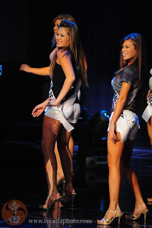 "November 22, 2009; Rancho Mirage, CA, USA; Miss West Hills Teen USA Ashlei Chavanakij (center) during the Miss California Teen USA 2010 Pageant at ""The Show"" at the Agua Caliente Resort & Spa. Mandatory Credit: Kyle Terada-Terada Photo"