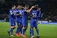 Junior Hoilett of Cardiff city (33) celebrates with teammates after he scores his teams 1st goal. EFL Skybet championship match, Cardiff city v Ipswich Town at the Cardiff city stadium in Cardiff, South Wales on Tuesday 31st October 2017.<br /> pic by Andrew Orchard, Andrew Orchard sports photography.