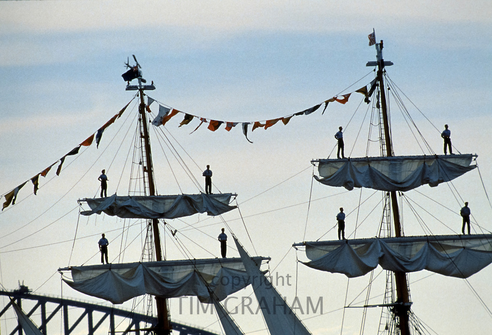 Tall ships form part of flotilla in Sydney Harbour for Australia's Bicentenary, 1988