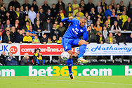 Cardiff City striker Kenneth Zohore (10) scores a goal to make the score 1-0 but it is disallowed for offside during the EFL Sky Bet Championship match between Burton Albion and Cardiff City at the Pirelli Stadium, Burton upon Trent, England on 5 August 2017. Photo by Richard Holmes.