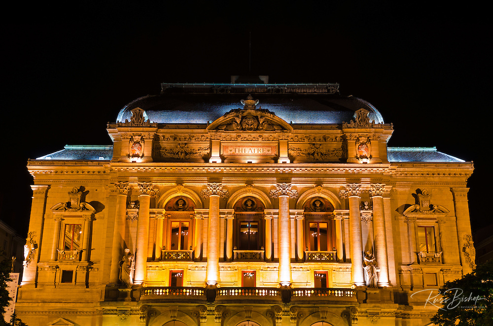 Célestins Theater at night, Lyon, France (UNESCO World Heritage Site)