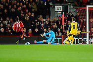 AFC Bournemouth midfielder Charlie Daniels scores a goal beating Petr Cech (33) of Arsenal to give a 1-0 lead to the home team during the Premier League match between Bournemouth and Arsenal at the Vitality Stadium, Bournemouth, England on 3 January 2017. Photo by Graham Hunt.