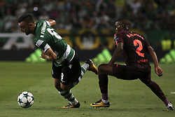 September 27, 2017 - Na - Lisbon, 09/27/2017 - Sporting Clube de Portugal received FC Barcelona tonight at the Alvalade stadium in the second qualifying round of Group D of the 2017/2018 Champions League. Bruno Fernandes, Nélson Semedo  (Credit Image: © Atlantico Press via ZUMA Wire)
