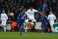 Kyle Naughton of Swansea city © in action. Premier league match, Swansea city v Leicester City at the Liberty Stadium in Swansea, South Wales on Sunday 12th February 2017.<br /> pic by Andrew Orchard, Andrew Orchard sports photography.