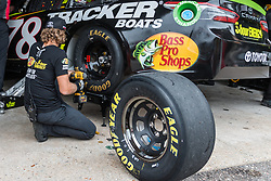 October 5, 2018 - Dover, DE, U.S. - DOVER, DE - OCTOBER 05: The crew of the #78 5-hour ENERGY/Bass Pro Shops Toyota got to work on Martin Truex Jr's Toyota after practice for the Monster Energy NASCAR Cup Series Gander Outdoors 400 on October 05, 2018, at Dover International Speedway in Dover, DE. (Photo by David Hahn/Icon Sportswire) (Credit Image: © David Hahn/Icon SMI via ZUMA Press)