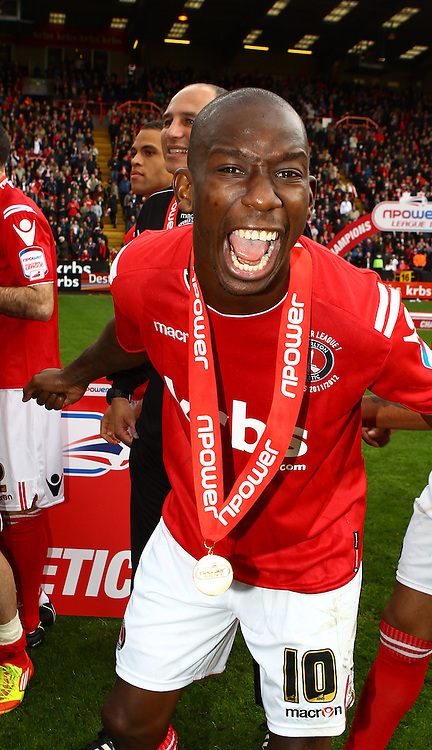 Picture by John Rainford/Focus Images Ltd. 07506 538356.05/05/12.Bradley Wright-Phillips of Charlton Athletic with his Npower League 1 winners medal at The Valley stadium, London.