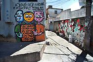 On the streets favelas in Rio de Janeiro - Graffiti in Complexo do Alemao