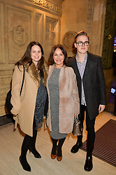 Left to right, GIOVANNA FALCONE, ARLENE PHILLIPS and TOM FLETCHER at the opening night of Amaluna by Cirque Du Soleil at The Royal Albert Hall, London on 19th January 2016.
