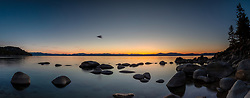 """""""Tahoe Boulders at Sunset 23"""" - Stitched panoramic photograph of the granite boulders at Secret Harbor Beach, on the east shore of Lake Tahoe. Photographed at sunset."""