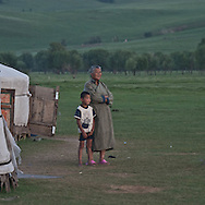 Mongolia. yurt camp at dusk    in Gatchurt area near.   gatchurt -