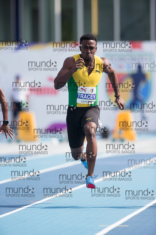 Toronto, ON -- 11 August 2018: Tyquendo Tracey (Jamaica), 100m semi-final at the 2018 North America, Central America, and Caribbean Athletics Association (NACAC) Track and Field Championships held at Varsity Stadium, Toronto, Canada. (Photo by Sean Burges / Mundo Sport Images).