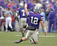 Kansas State quarterback Allan Evridge (12) reacts after throwing a 52-yard touchdown pass in the second quarter against Texas A&M at KSU Stadium in Manhattan, Kansas, October 22, 2005.  Texas A&M beat Kansas State 30-28.