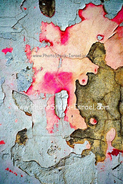 Pink and blue peeling plaster Abstract background