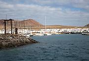 Caleta de Sebo village boats in harbour, La Isla Graciosa, Lanzarote, Canary Islands, Spain