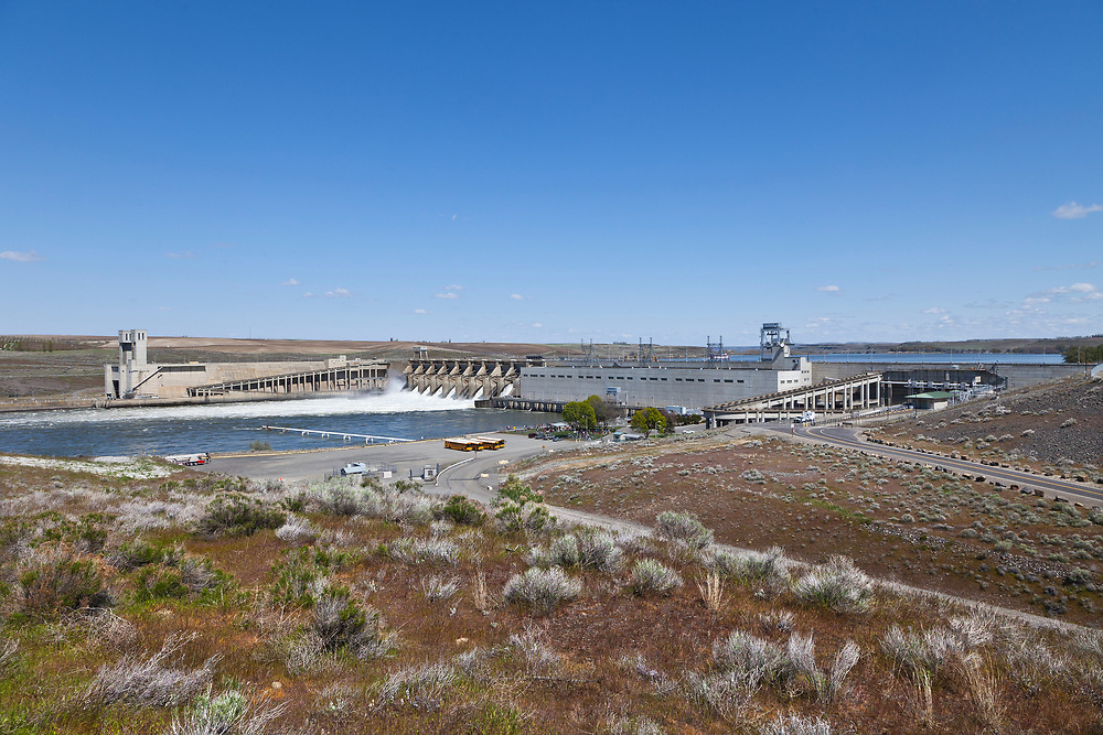 Lower view of Ice Harbor Dam Spillway near the end of the Snake River before it joins the Columbia River down stream at Tri-Cities, Washington.  Licensing and Open Edition Prints.