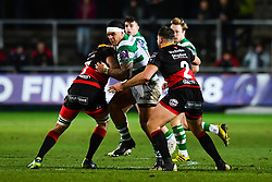 Newcastle Falcons' Josh Matavesi is tackled by Dragons' Ben Roach<br /> <br /> Photographer Craig Thomas/Replay Images<br /> <br /> EPCR Champions Cup Round 3 - Newport Gwent Dragons v Newcastle Falcons - Saturday 15th December 2017 - Rodney Parade - Newport<br /> <br /> World Copyright © 2017 Replay Images. All rights reserved. info@replayimages.co.uk - www.replayimages.co.uk