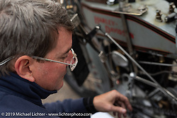 Erik Bahl working on his 1915 Harley-Davidson model F on the Motorcycle Cannonball coast to coast vintage run. Stage 11 (248-miles) from Billings to Great Falls, MT. Tuesday September 18, 2018. Photography ©2018 Michael Lichter.