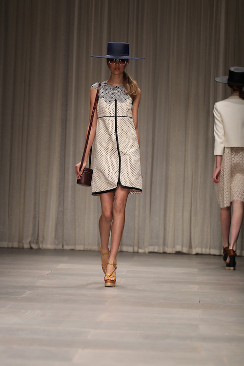 Models walk the catwalk for the Jaeger show during the Spring 2012 London Fashion Week.