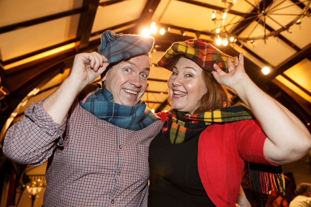 Burns Supper event in Alloway. Still Game stars Mark Cox (Tam) and Jane McCarry (Isa) don their Tam O'Shanters at the Brig o'Doon Hotel in Alloway after his toast to the lassies and her reply for the lassies. Picture Robert Perry . Picture Robert Perry 21st Jan 2016<br /> <br /> Must credit photo to Robert Perry<br /> FEE PAYABLE FOR REPRO USE<br /> FEE PAYABLE FOR ALL INTERNET USE<br /> www.robertperry.co.uk<br /> NB -This image is not to be distributed without the prior consent of the copyright holder.<br /> in using this image you agree to abide by terms and conditions as stated in this caption.<br /> All monies payable to Robert Perry<br /> <br /> (PLEASE DO NOT REMOVE THIS CAPTION)<br /> This image is intended for Editorial use (e.g. news). Any commercial or promotional use requires additional clearance. <br /> Copyright 2014 All rights protected.<br /> first use only<br /> contact details<br /> Robert Perry     <br /> 07702 631 477<br /> robertperryphotos@gmail.com<br /> no internet usage without prior consent.         <br /> Robert Perry reserves the right to pursue unauthorised use of this image . If you violate my intellectual property you may be liable for  damages, loss of income, and profits you derive from the use of this image.