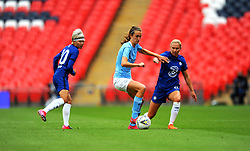 Jonna Andersson of Chelsea Women applies pressure on Jill Scott of Manchester City Women- Mandatory by-line: Nizaam Jones/JMP - 29/08/2020 - FOOTBALL - Wembley Stadium - London, England - Chelsea v Manchester City - FA Women's Community Shield