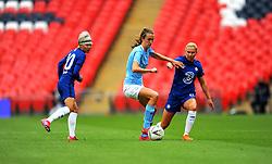 Jonna Andersson of Chelsea Women applies pressure on Jill Scott of Manchester City Women- Mandatory by-line: Nizaam Jones/JMP - 29/08/2020 - FOOTBALL - Wembley Stadium - London, England - Chelsea v Manchester City - FA Women's Community Shield
