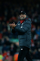 Football - 2019 / 2020 Premier League - Liverpool vs. Everton<br /> <br /> Liverpool manager Jurgen Klopp applauds the Kop at the end of the game , at Anfield.<br /> <br /> COLORSPORT/ALAN MARTIN