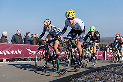 Emma Johansson and Megan Guarnier lead over the VAMberg  - Drentse 8, a 140km road race starting and finishing in Dwingeloo, on March 13, 2016 in Drenthe, Netherlands.