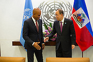 Michel Joseph Martelly, the President, of Haiti, with United Nations Secretary General Ban Ki moon.