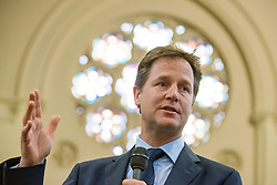 © Licensed to London News Pictures. 20/05/2014. Oxford, UK Deputy Prime Minister and Leader of the Liberal Democrats, Nick Clegg, holds a question and answer session as part of his 2014 European and Local Election tour with members of the public at Wesley Memorial Church in Oxford today 20th May 2014. Photo credit : Stephen Simpson/LNP