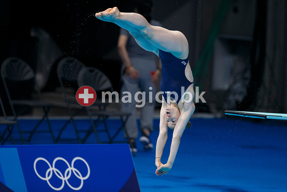 Michelle HEIMBERG of Switzerland is pictured during a training session prior to the start of the Diving competition held at the Aquatics Center during the Tokyo 2020 Olympic Games in Tokyo, Japan, Thursday, July 22, 2021. (Photo by Patrick B. Kraemer / MAGICPBK)