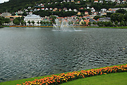 Lille Lungegardsvannet or Smalungeren, water feature fountain lake city centre of Bergen, Norway