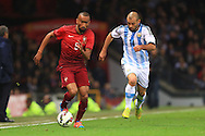 Jose Bosingwa of Portugal out paces Javier Mascherano of Argentina - Argentina vs. Portugal - International Friendly - Old Trafford - Manchester - 18/11/2014 Pic Philip Oldham/Sportimage