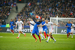 29.03.2016, Stade de France, St. Denis, FRA, Testspiel, Frankreich vs Russland, im Bild kante n'golo, smolnikov igor // during the International Friendly Football Match between France and Russia at the Stade de France in St. Denis, France on 2016/03/29. EXPA Pictures © 2016, PhotoCredit: EXPA/ Pressesports/ Sebastian Boue<br /> <br /> *****ATTENTION - for AUT, SLO, CRO, SRB, BIH, MAZ, POL only*****