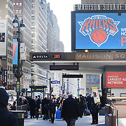 Madison Square Gardens welcome Phil Jackson to the New York Knicks, showing old footage of him in action on the big screen outside the venue which held  a press conference announcing Jackson as the New President of the New York Knicks at Madison Square Garden, New York, USA. 18th March 2014. Photo Tim Clayton