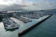 Pier 39 marina, with Alcatraz and Marin Headlands in background, San Francisco, CA USA