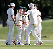 Jayden Lennox of CD celebrates wicket with team mates. Canterbury vs. Central Districts Day 2, 1st round of the 2021-2022 Plunket Shield cricket competition at Hagley Oval, Christchurch, on Sunday 24th October 2021.<br /> © Copyright Photo: Martin Hunter/ www.photosport.nz