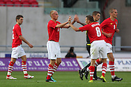 David Cotterill of Wales celebrates after he scores the 1st goal .  friendly international match, Wales v Luxembourg at the Parc y Scarlets stadium in  Llanelli on Wed 11th August 2010. pic by Andrew Orchard, Andrew Orchard sports photography,