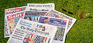 London, England - May 26, 2020: Pile of English Newspapers from the United Kingdom