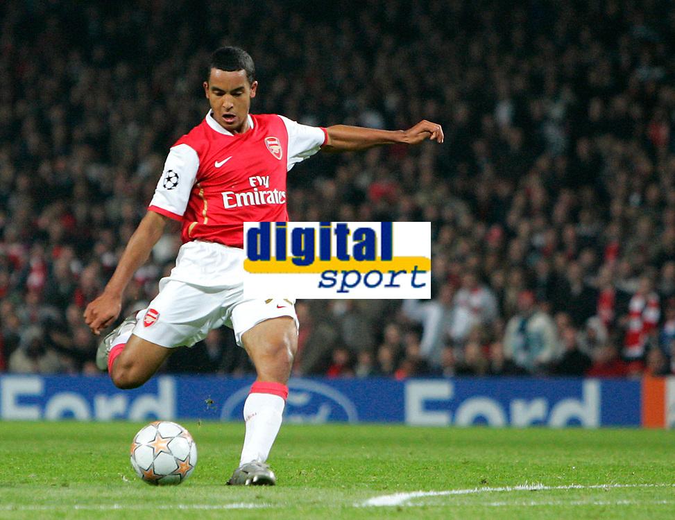 Photo: Tom Dulat.<br /> Arsenal v Slavia Prague. Group H, UEFA Champions League. 23/10/2007.<br /> Theo Walcott scores third goal for Arsenal. Arsenal leads 3-0
