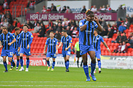 Gabriel Zakuani of Gillingham (6) signals to his keeper after Gillingham take a 1-0 lead during the EFL Sky Bet League 1 match between Doncaster Rovers and Gillingham at the Keepmoat Stadium, Doncaster, England on 20 October 2018.