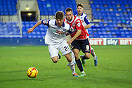 Matthew Kennedy of Tranmere Rovers (on loan from Everton) holds off Milkovic of Walsall (r). Skybet football league 1 match, Tranmere Rovers v Walsall at Prenton Park in Birkenhead, England on Saturday 11th Jan 2014.<br /> pic by Chris Stading, Andrew Orchard sports photography.